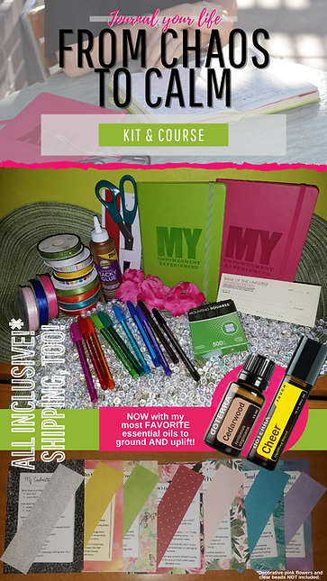 Creative Clarity Journaling course Tools, journals, pens, oils, ribbons