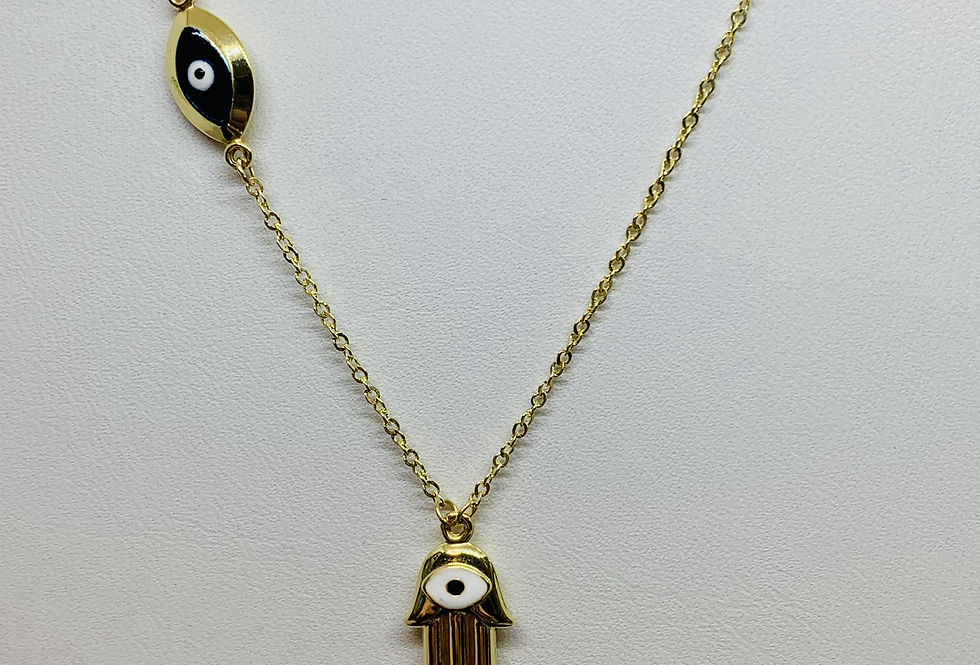 14k Yellow Gold Hamsa Evil Eye Chain Pendant