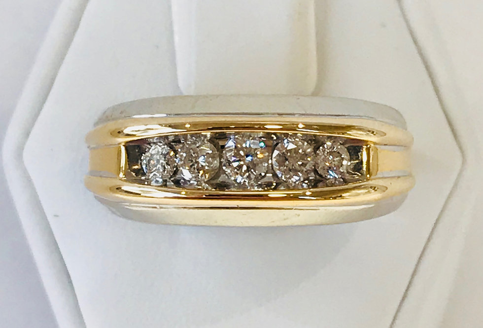 MENS 0.70TCW DIAMOND WEDDING RING 14K T.T