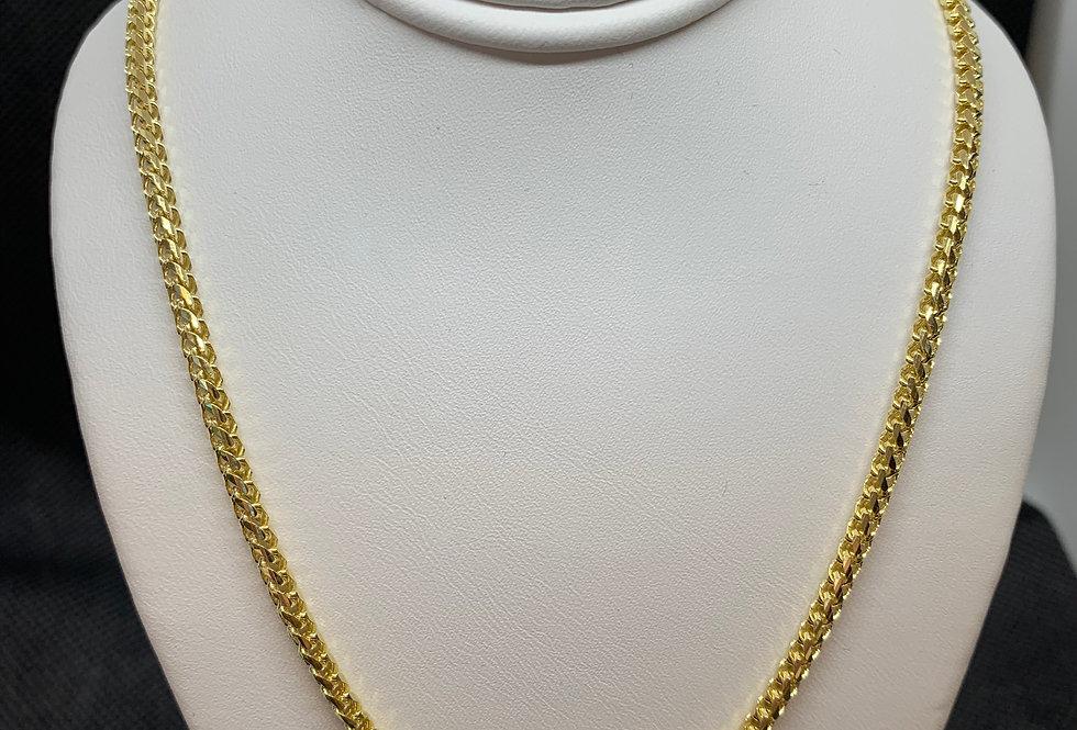 10k Solid Franco Link Diamond Cut Chain