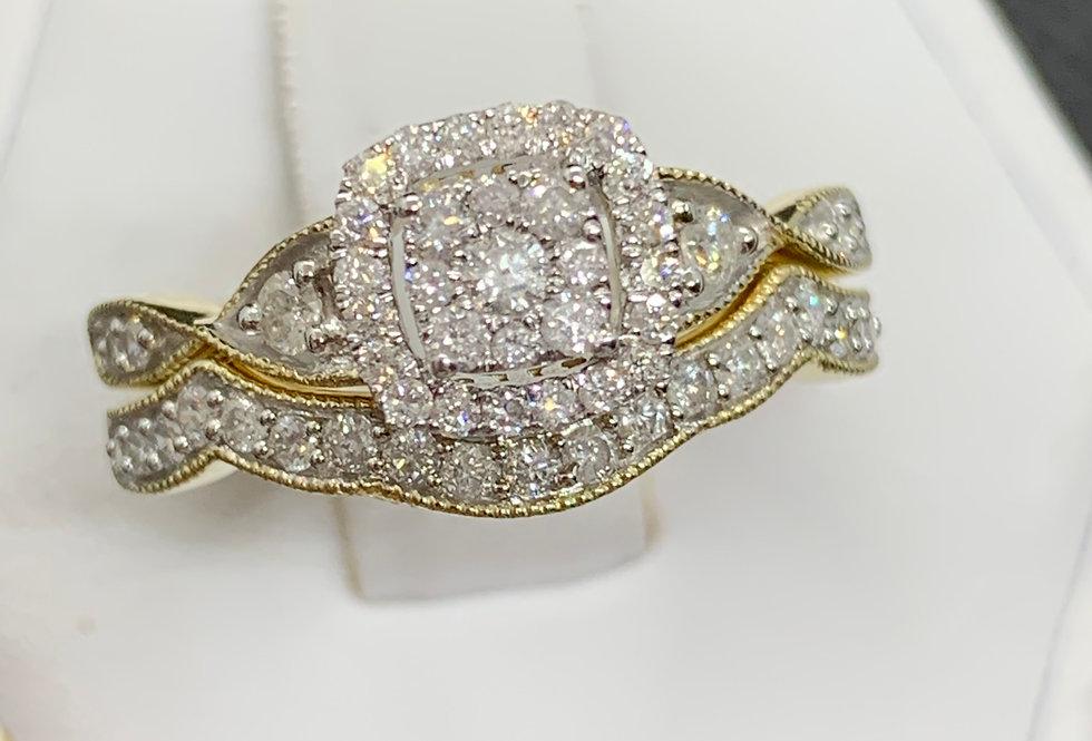 0.50tcw Diamond Ring 10k Rose Gold + Band