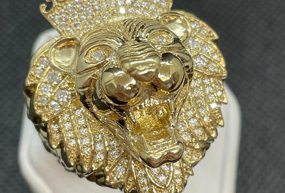 Big 10k Yellow Gold Lion Ring