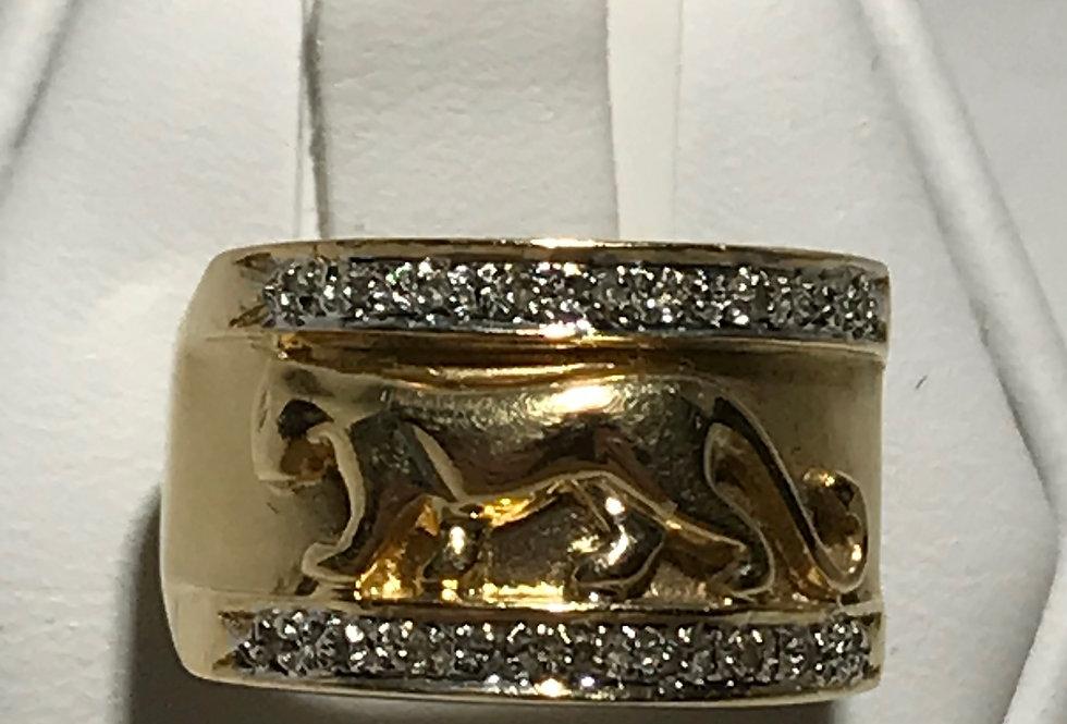 14K PANTHER DIAMOND RING