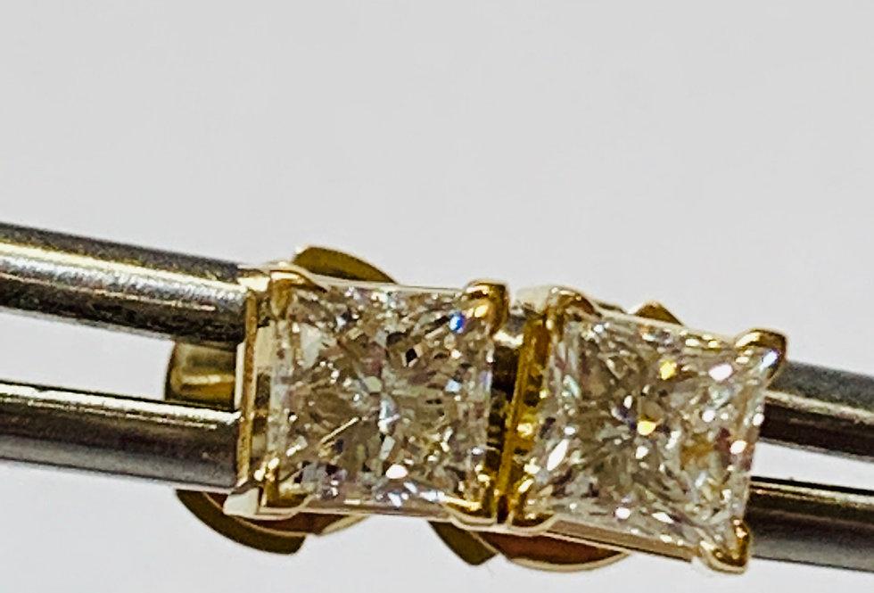 1.00TCW DIAMOND PRINCESS CUT STUDS YELLOW GOLD