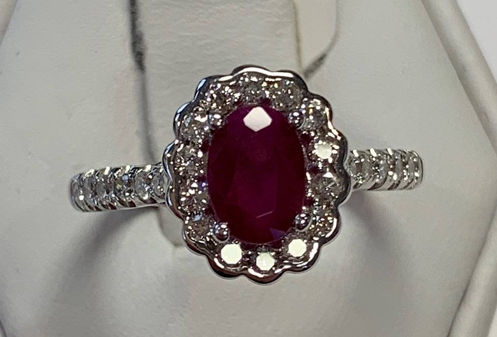 1.14CT RUBY HALO DIAMOND RING 14K WG