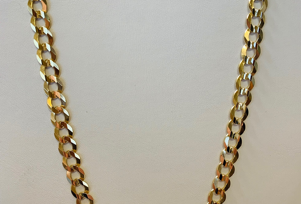 "(NEW) 10K YELLOW GOLD CUBAN LINK 26"" 8MM"