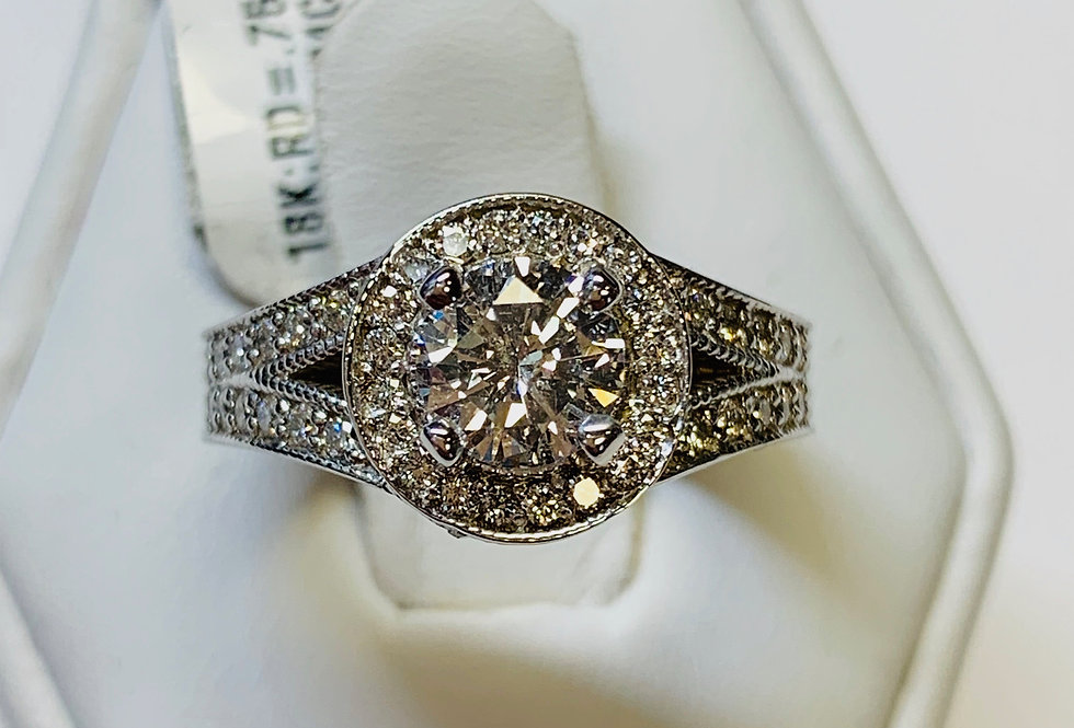 1.80TCW ETERNITY DIAMOND ENGAGEMENT RING 18K WHITE GOLD