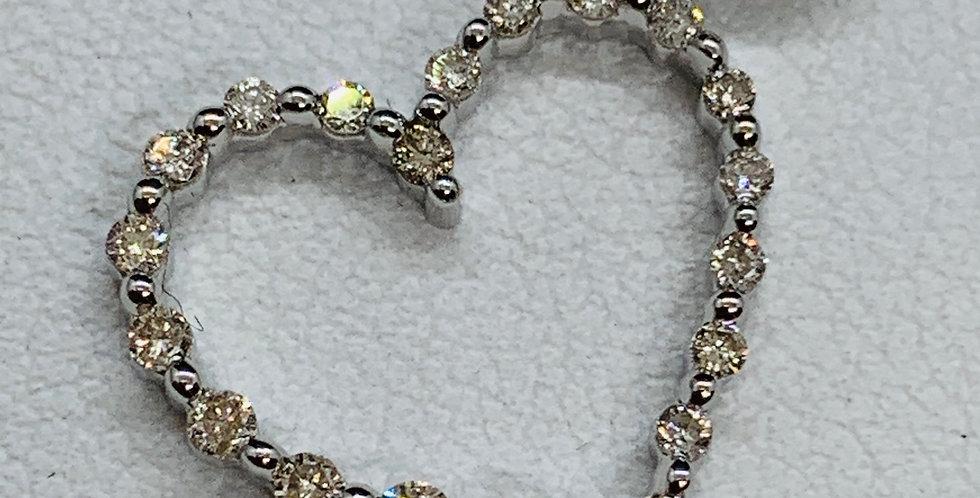 14k White Gold Diamond Pendant Heart
