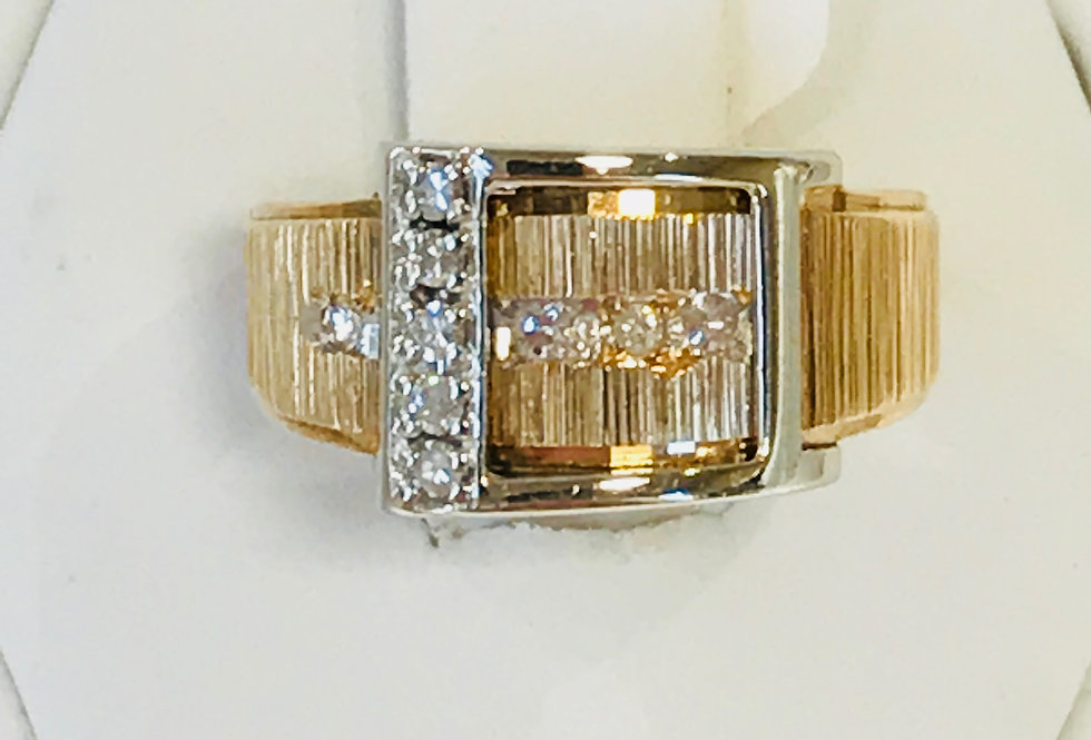 14K YG CUSTOM MADE DIAMOND BELT RING