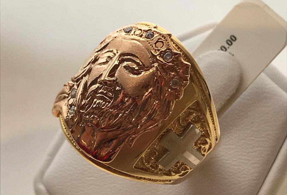14K YELLOW GOLD JESUS CUSTOM RING