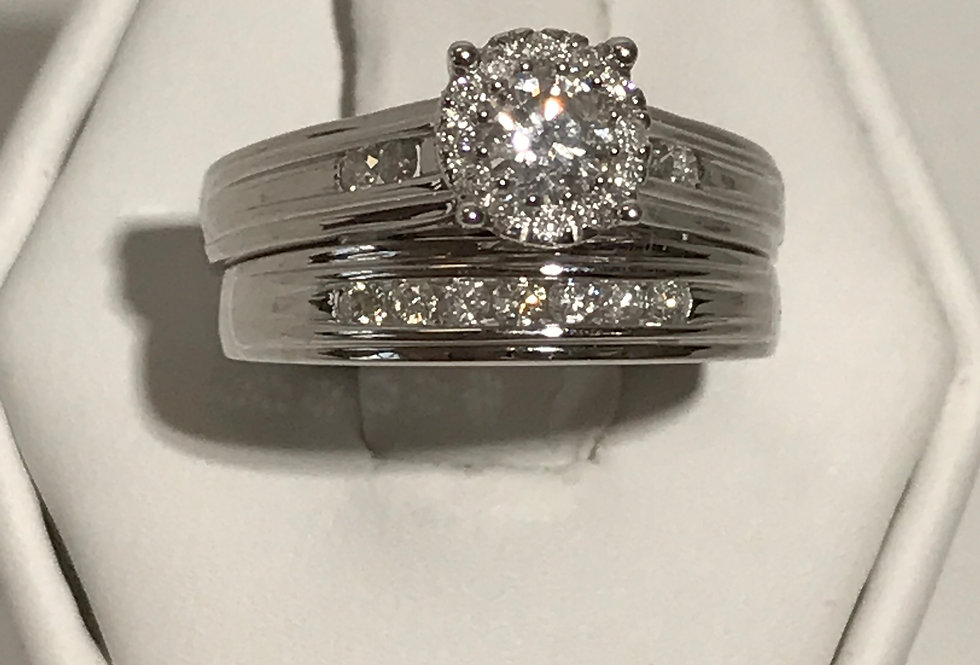 DIAMOND ENGAGEMENT RING WITH BAND 10K WG
