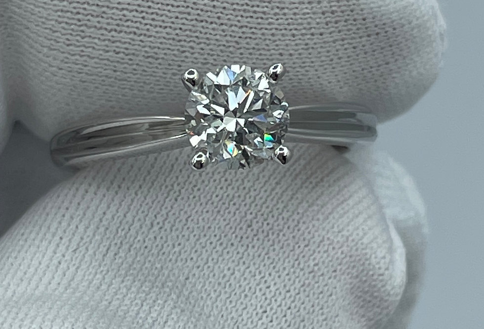 Round Cut / 0.90ct /E / I1 / 19k WG Engagement Ring