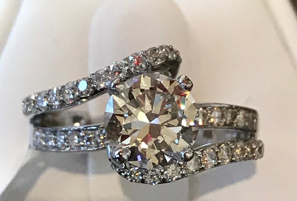 1.51TCW DIAMOND ENGAGEMENT RING 18K WG