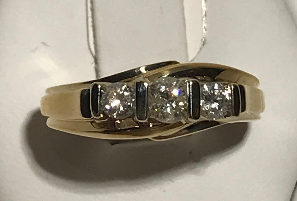 0.43TCW 3 STONE DIAMOND RING 14K YG