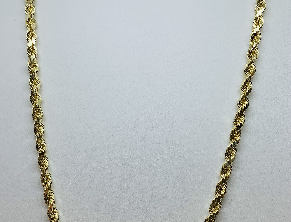 NEW 14K YG DIAMOND CUT ROPE CHAIN