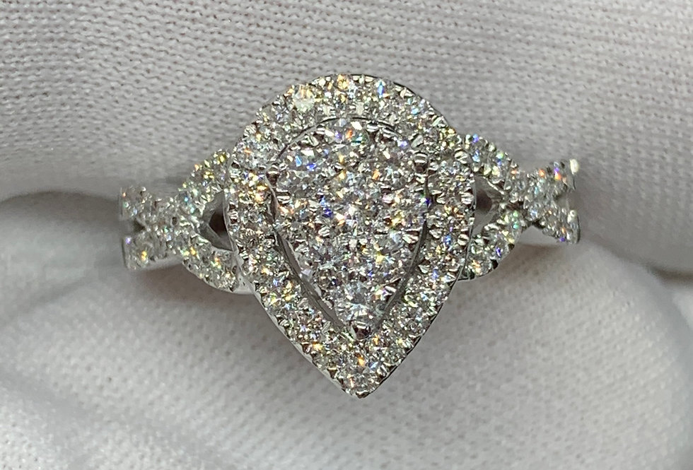 1.00tcw Diamond Pear Ring 14k White Gold + Band
