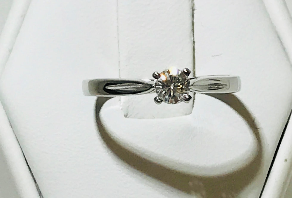0.22CT DIAMOND RING 14K WG