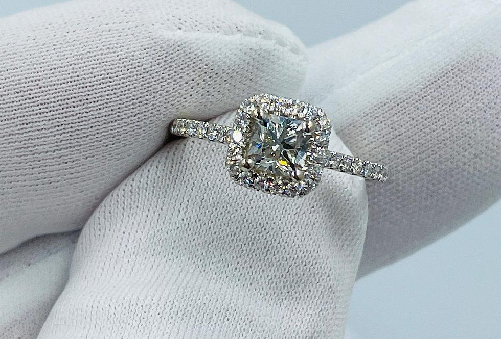 Radiant Cut / 1.00tcw / 18k WG Engagement Ring