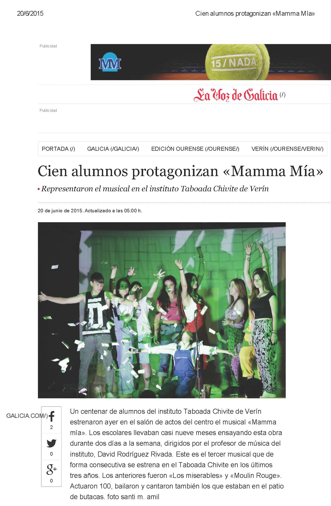 Mamma Mia La Voz de Galicia