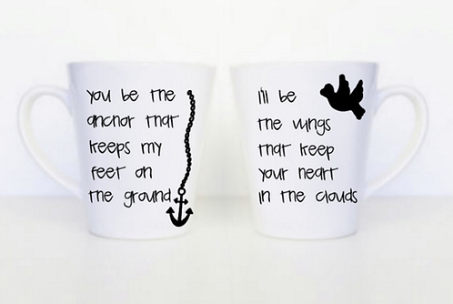 Set of 2 Anchor and Wings Couples Mugs