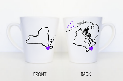 Simple Long Distance Miss You Latte Mug - Moving Away Gift, Long Distance Mother