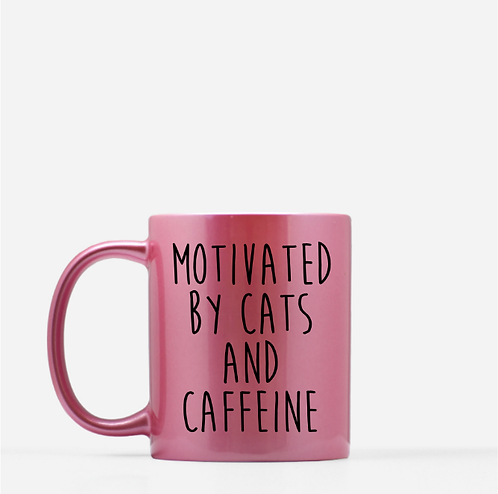 Motivated By Cats And Caffeine - Pet Mom Mother's Day Gift, Cat Lover Gift
