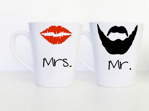 Set of 2 Mrs. Lips & Mr. Beard Mugs
