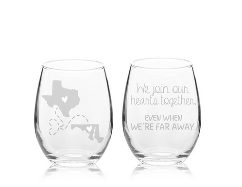Set of 2 - We Join Our Hearts Together Even When We're Far Away Stemless Wine Gl