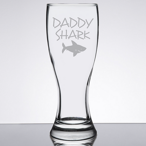 Daddy Shark Pilsner Glass | Mommy Shark | Gift For Dad Gift | Daddy Beer