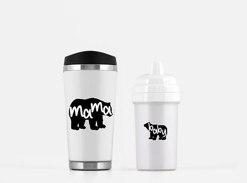 Mama Bear Travel Mug, Baby Bear Sippy Cup Baby Shower Gift Set - Mother's Day