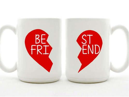 Set of 2 Mugs - Best Friends - Broken Heart Mugs