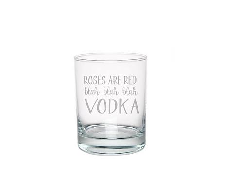 ENGRAVED Roses Are Red Blah Blah Blah Vodka | Valentine Glass | Rocks | Whiskey