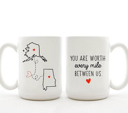 Long Distance Mugs | Custom Coffee Mugs | Miss You Mug | Goodbye Gift