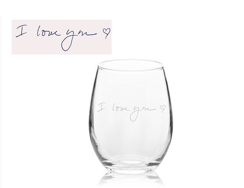 Signature Wine Glass | Actual Handwriting | Etched | Christmas Gift | Customize