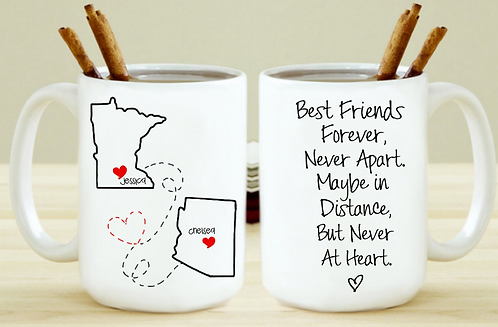 Set of 2 - Best Friends Forever Never Apart BFF Long Distance Gift For Friend