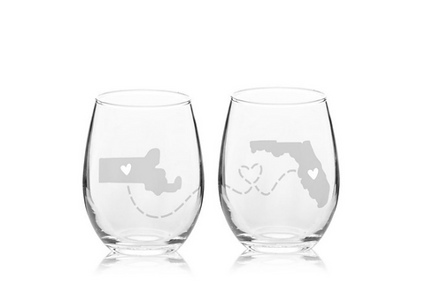 ENGRAVED SET OF 2 Long Distance Wine Glass | Goodbye Gift | Father's Day