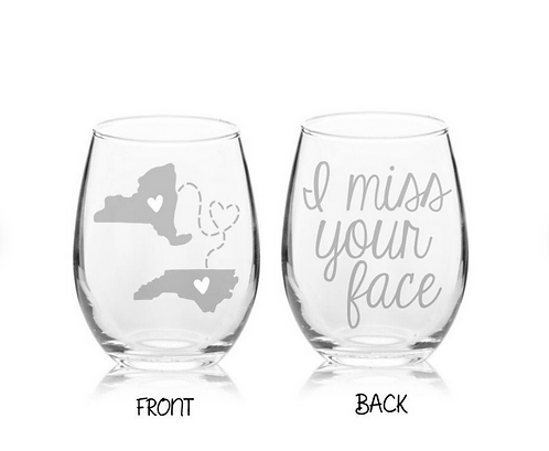 ENGRAVED I Miss Your Face | Long Distance Wine Best Friend Gift | Two States