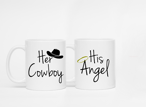 Set of 2 Mugs - Her Cowboy, His Angel - Her Cowboy Mug, His Angel Mug, His And H