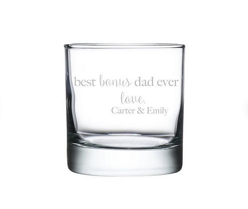 ENGRAVED Best Selling Gift for Stepdad | Stepfather | Personalized Whiskey Glass