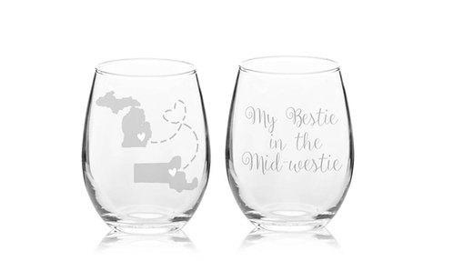 My Bestie In The Mid-Westie Stemless Wine Glass - Sister, Your Always In My Hear