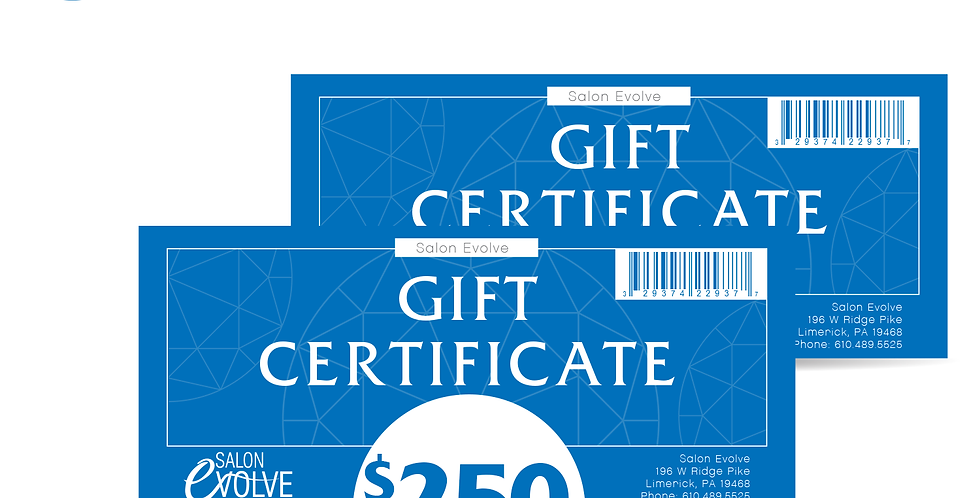 Salon Evolve Gift Card $250