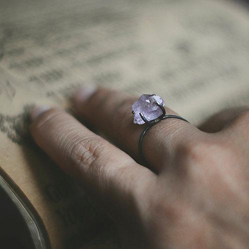 Oxidized Silver Amethyst Ring