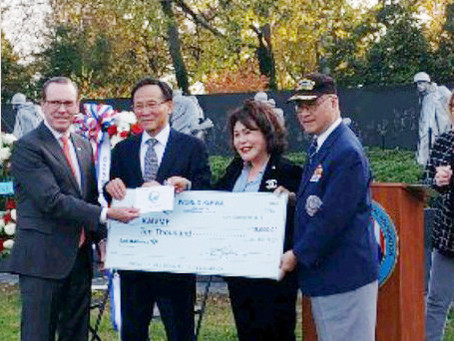 월드킴와, 한국전 참전용사 추모의 벽 건립 기금 1만 달러 기탁