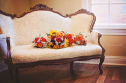 flowers on antique chair