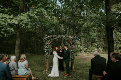 tracy and kory wooded ceremony site