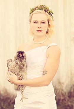 Bride with chicken