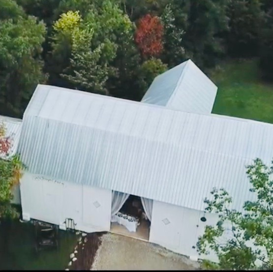 aerial view of barn