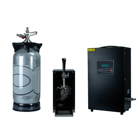 nitrogen generator with wine dispenser and wine keg.