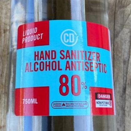 Hand Sanitizer 80% Alcohol Antiseptic 750ml