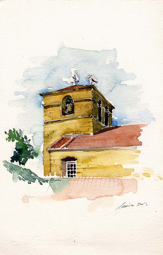 acuarela de la iglesia (autora: Maria Riera)